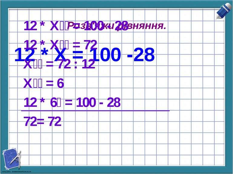 Розв'яжи рівняння. 12 * Х = 100 -28 12 * Х = 100 - 28 12 * Х = 72 Х = 72 : 12...