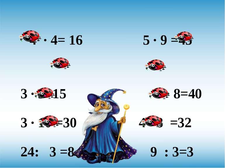 4 · 4= 16 5 · 9 =45 3 · 5=15 5 · 8=40 3 · 10 =30 4· 8 =32 24: 3 =8 9 : 3=3