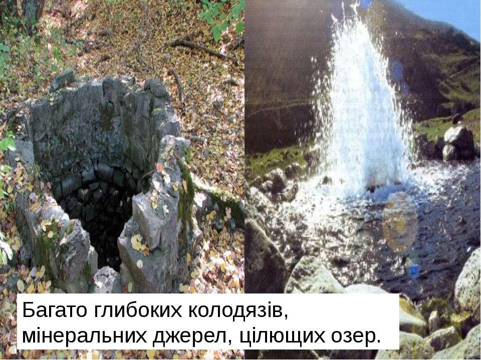 Багато глибоких колодязів, мінеральних джерел, цілющих озер.