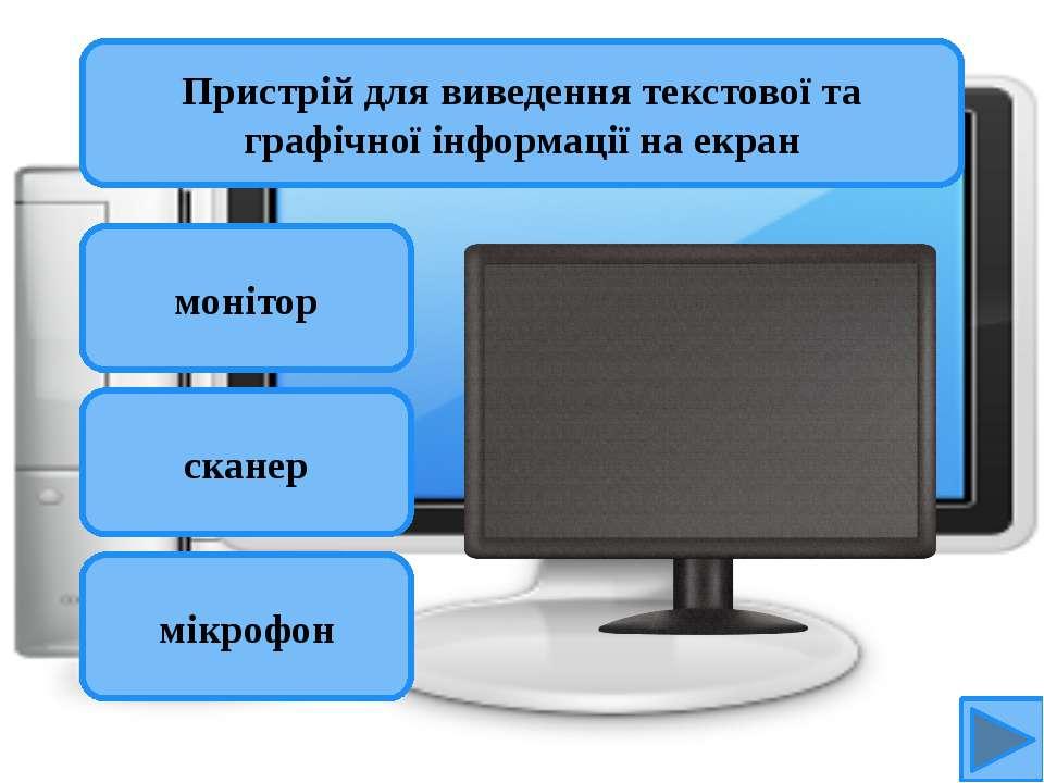 монітор сканер мікрофон Пристрій для виведення текстової та графічної інформа...