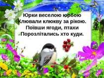 Юрки веселою юрбою Клювали клюкву за рікою. Поївши ягоди, птахи Порозлітались...