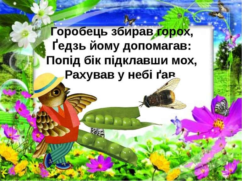 Горобець збирав горох, Ґедзь йому допомагав: Попід бік підклавши мох, Рахував...