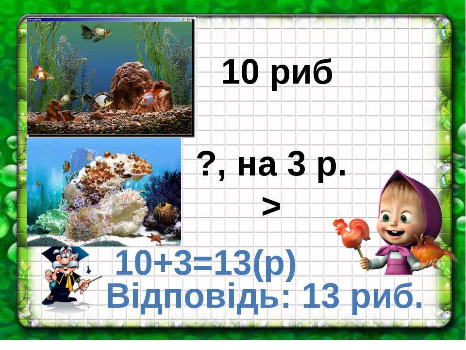 10 риб ?, на 3 р. > 10+3=13(р) Відповідь: 13 риб.