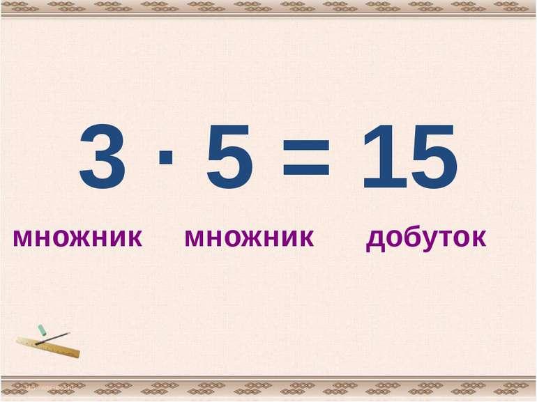 3 · 5 = 15 http://aida.ucoz.ru множник множник добуток
