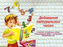 Додавання натуральних чисел учитель початкових класів Новосвітської ЗОШ І – І...