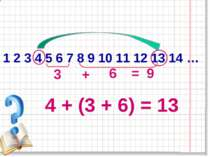 1 2 3 4 5 6 7 8 9 10 11 12 13 14 … 4 + (3 + 6) = 13 6 3 + = 9
