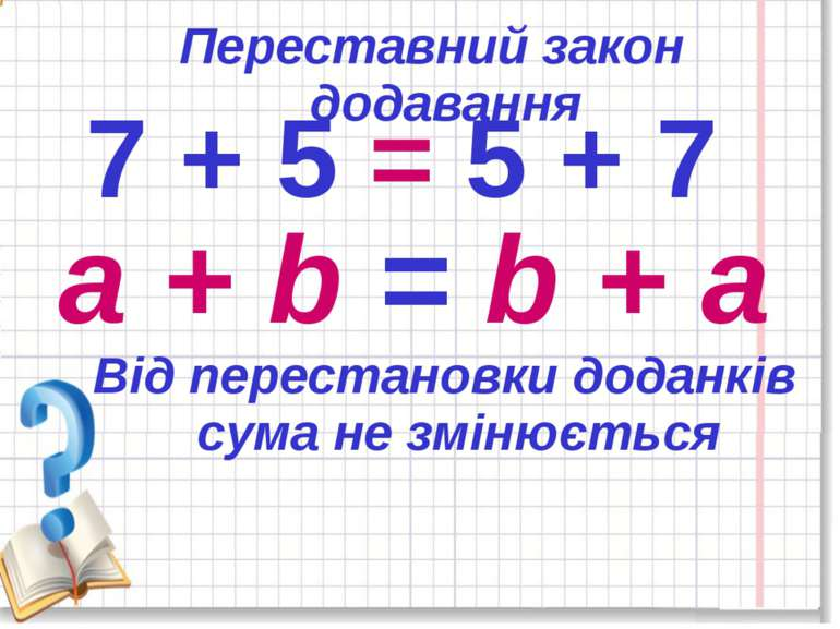 7 + 5 = 5 + 7 a + b = b + a Переставний закон додавання Від перестановки дода...