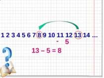 1 2 3 4 5 6 7 8 9 10 11 12 13 14 … 13 – 5 = 8 - 5