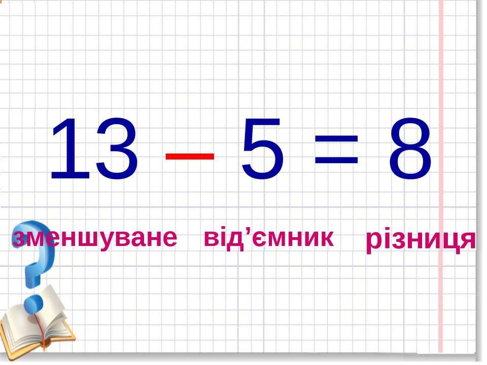 13 – 5 = 8 зменшуване від'ємник різниця