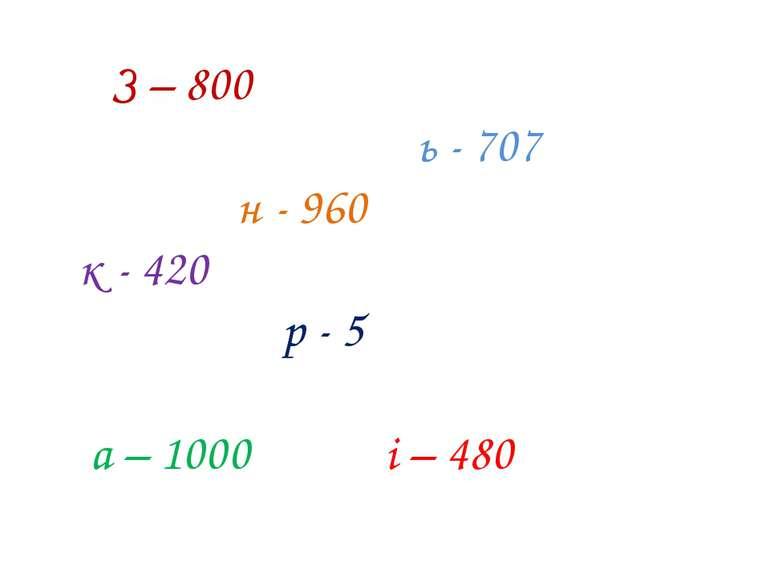 З – 800 ь - 707 н - 960 к - 420 р - 5 а – 1000 і – 480