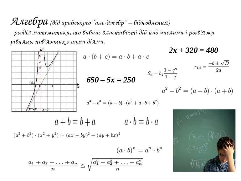 """Алгебра (від арабського """"аль-джебр"""" – відновлення) - розділ математики, що ви..."""