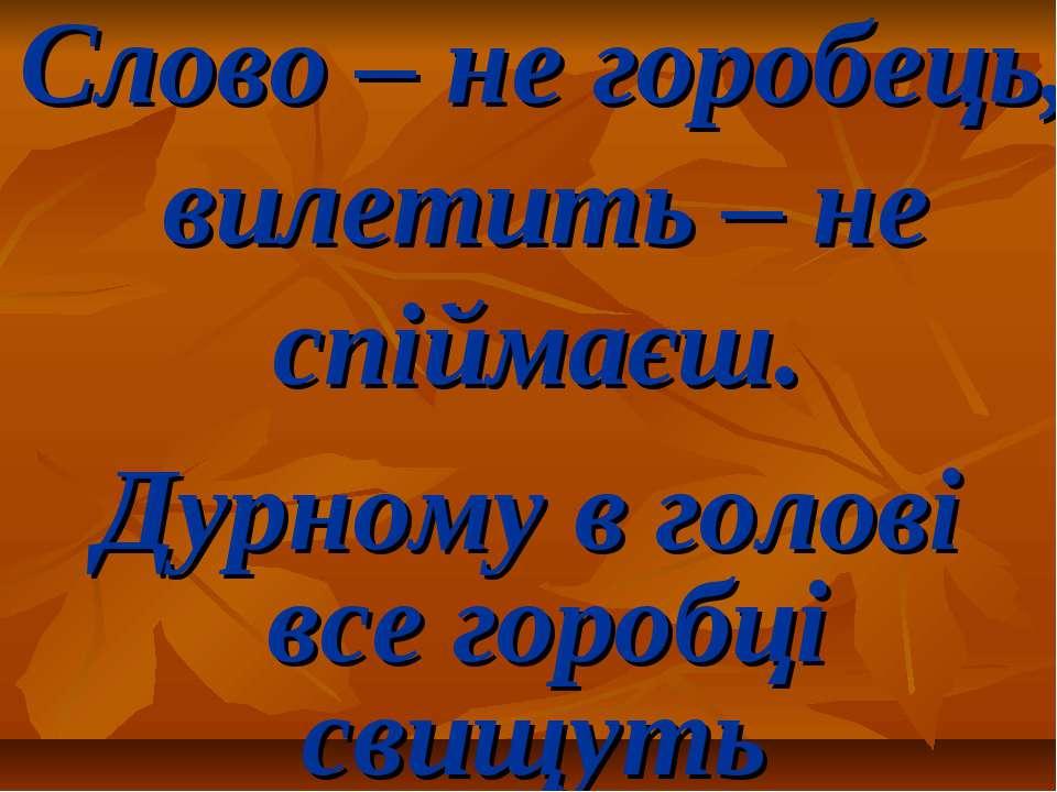 Слово – не горобець, вилетить – не спіймаєш. Дурному в голові все горобці сви...