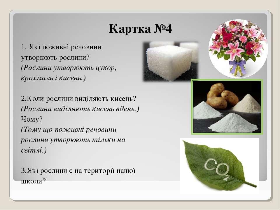 Картка №4 1. Які поживні речовини утворюють рослини? (Рослини утворюють цукор...