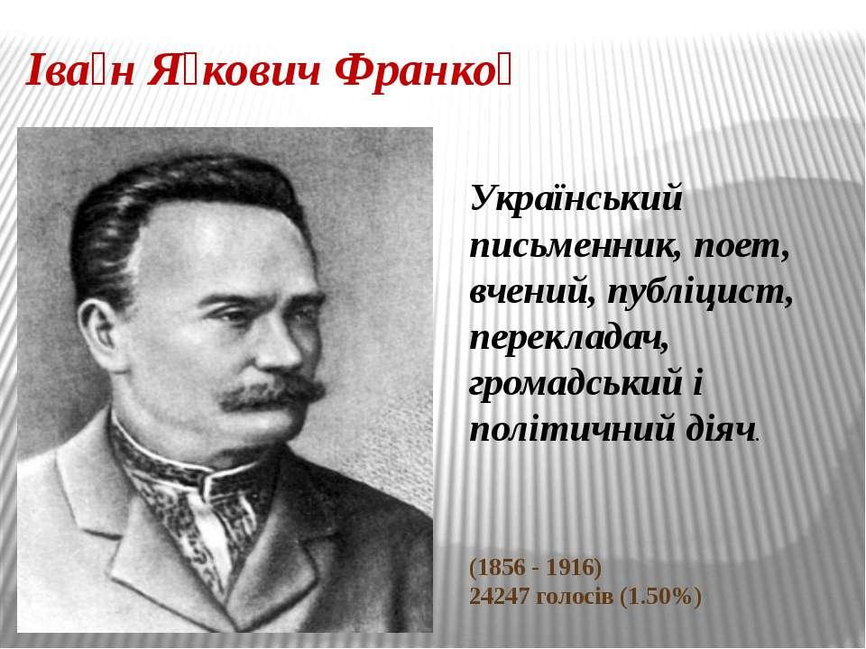 Іва н Я кович Франко Український письменник, поет, вчений, публіцист, перекла...