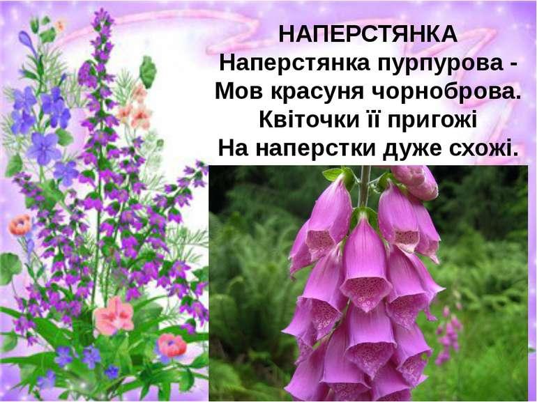 НАПЕРСТЯНКА Наперстянка пурпурова - Мов красуня чорноброва. Квіточки її приго...