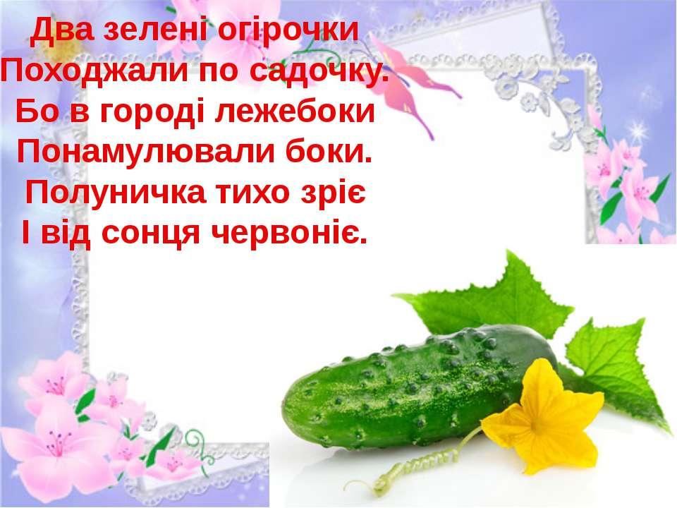 Два зелені огірочки Походжали по садочку. Бо в городі лежебоки Понамулювали б...