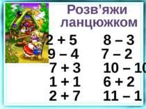 2 + 5 8 – 3 9 – 4 7 – 2 7 + 3 10 – 10 1 + 1 6 + 2 2 + 7 11 – 1 Розв'яжи ланцю...