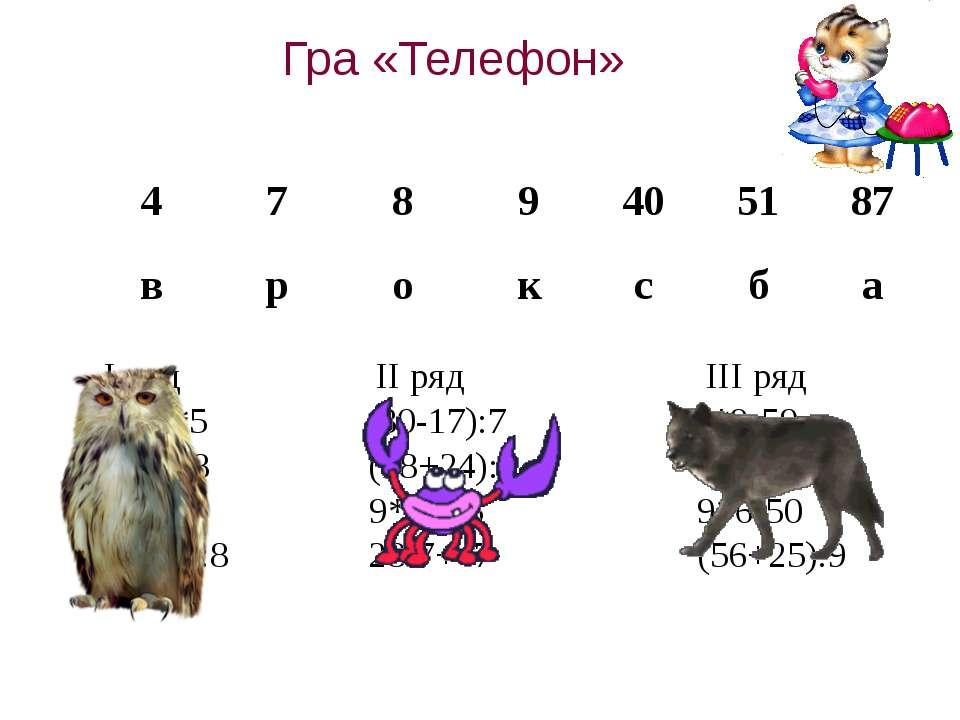 Гра «Телефон» І ряд ІІ ряд ІІІ ряд 72:9*5 (80-17):7 7*9-59 6*6-28 (18+24):6 6...