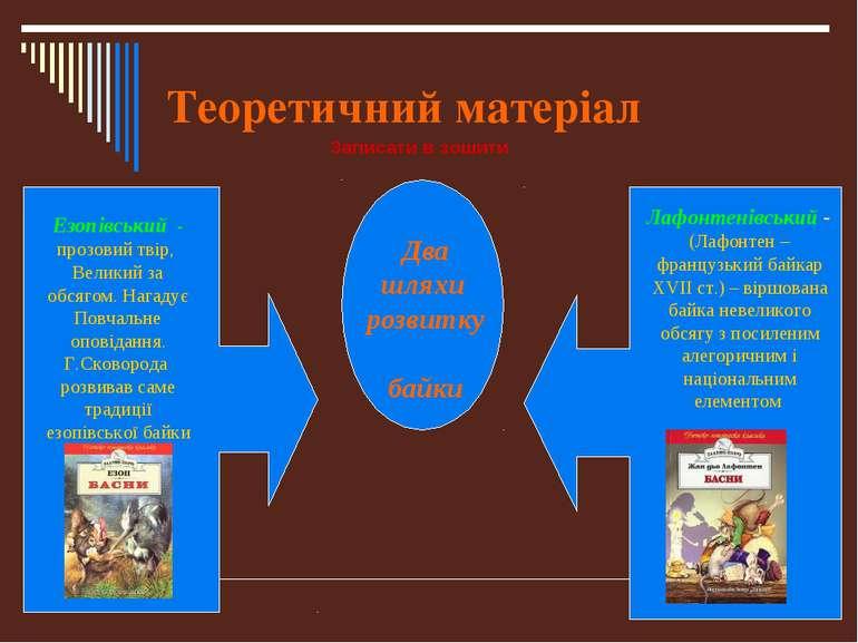 Теоретичний матеріал Два шляхи розвитку байки Езопівський - прозовий твір, Ве...