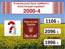 2000-4 1996 г. 2096 г. 1106 г. 28 червня В якому році була прийнята Конституц...