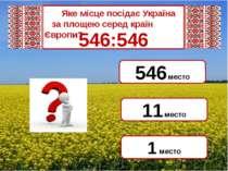 546:546 1 место 546 место 11 место Яке місце посідає Україна  за площею сер...
