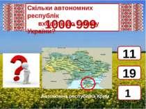 Скільки автономних республік  входить до складу України? 1000-999 1 11 1...
