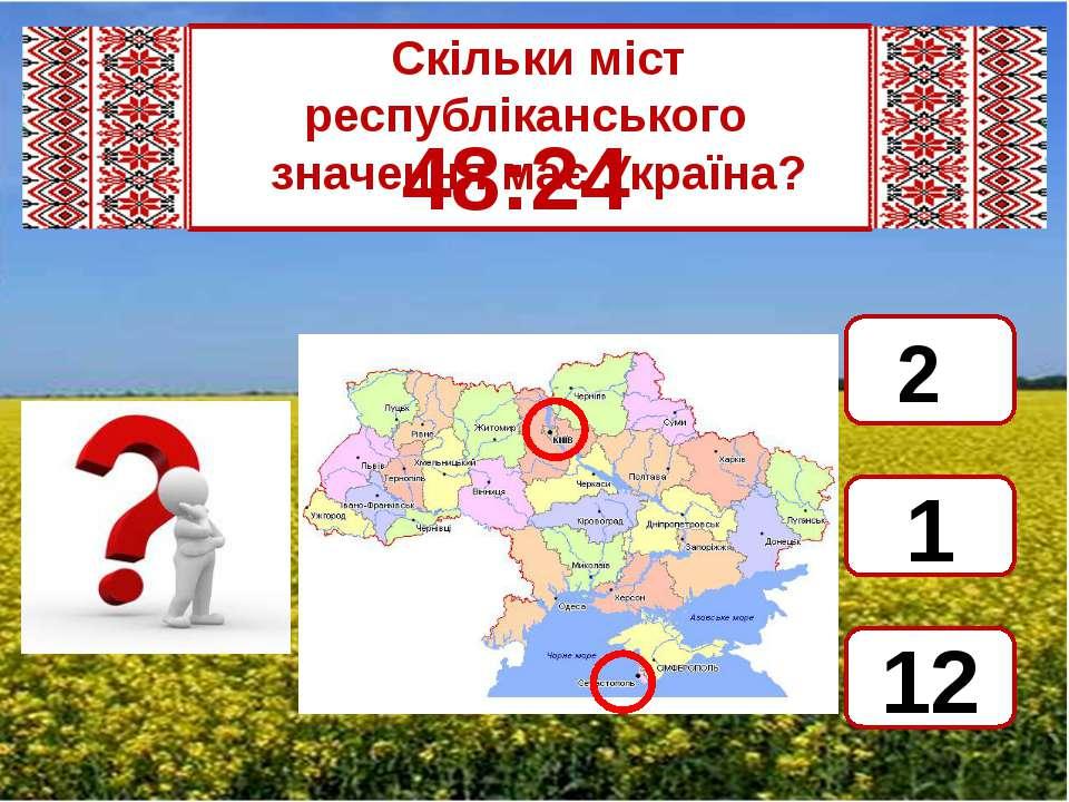 Скільки міст республіканського значення має Україна? 48:24 2 1 12