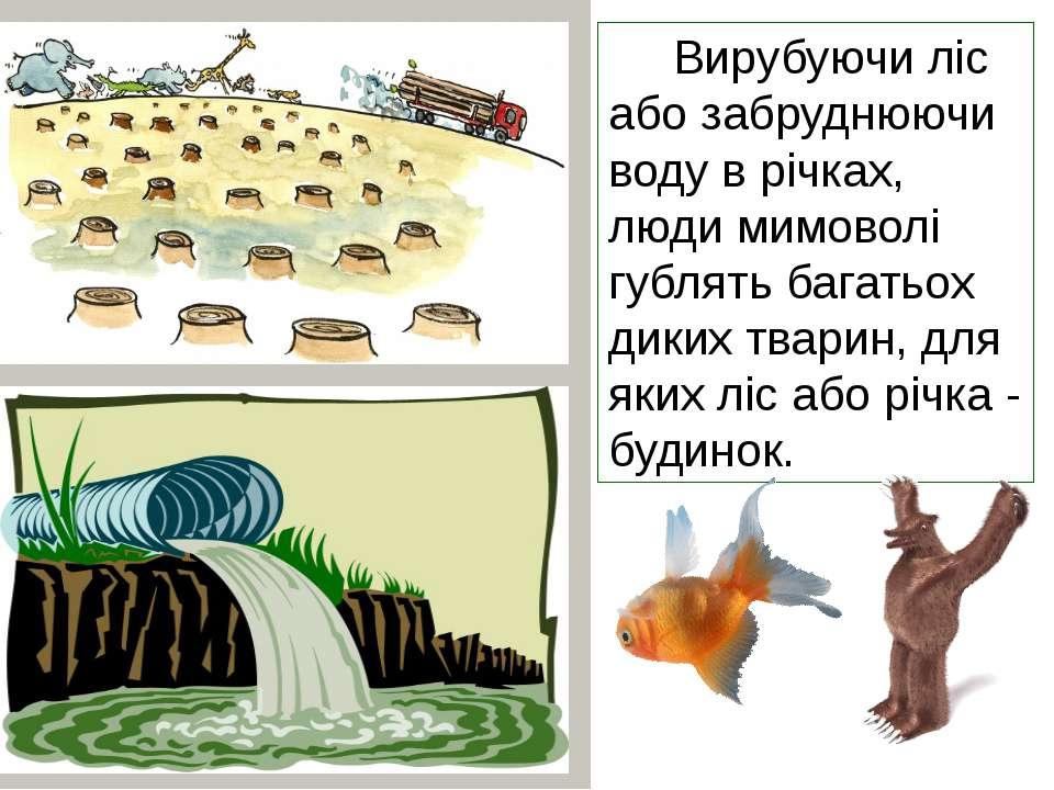 Вирубуючи ліс або забруднюючи воду в річках, люди мимоволі гублять багатьох д...