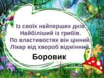 Боровик Із своїх найперших днів Найбіліший із грибів. По властивостях він цін...