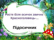 Підосичник Росте біля осичок звично Красноголовець-...