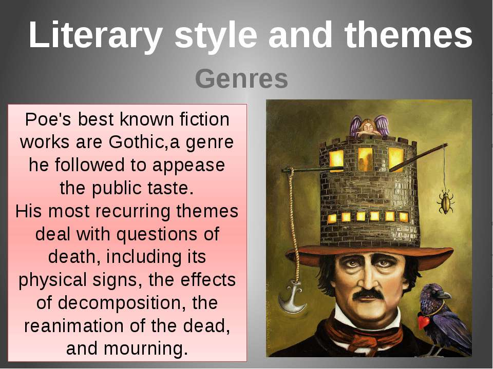 Poe's best known fiction works are Gothic,a genre he followed to appease the ...