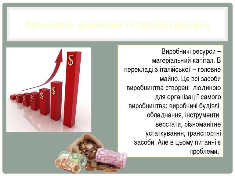 Виробничі, фінансові та трудові ресурси Виробничі ресурси – матеріальний капі...