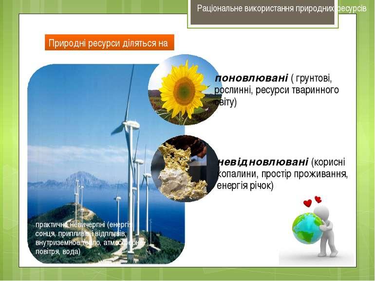 Природні ресурси діляться на Раціональне використання природних ресурсів
