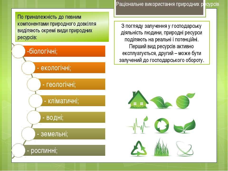 З погляду залучення у господарську діяльність людини, природні ресурси поділя...