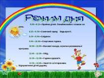 8.00—8.15—Прийом дітей. Ознайомлення з планом на день.  8.15—8.30—Сонячний з...