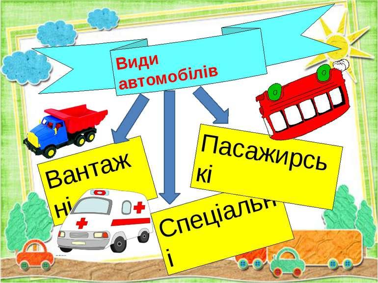 Види автомобілів Вантажні Спеціальні Пасажирські