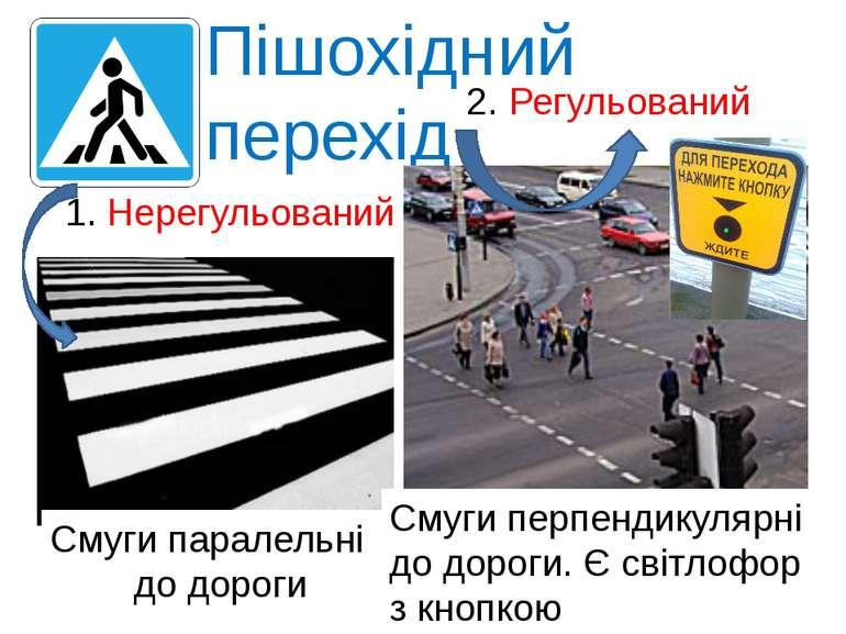 Пішохідний перехід 1. Нерегульований 2. Регульований Смуги паралельні до доро...