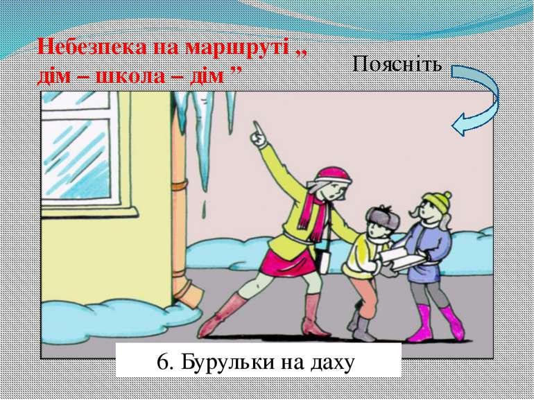"""Небезпека на маршруті ,, дім – школа – дім """" Поясніть 6. Бурульки на даху"""