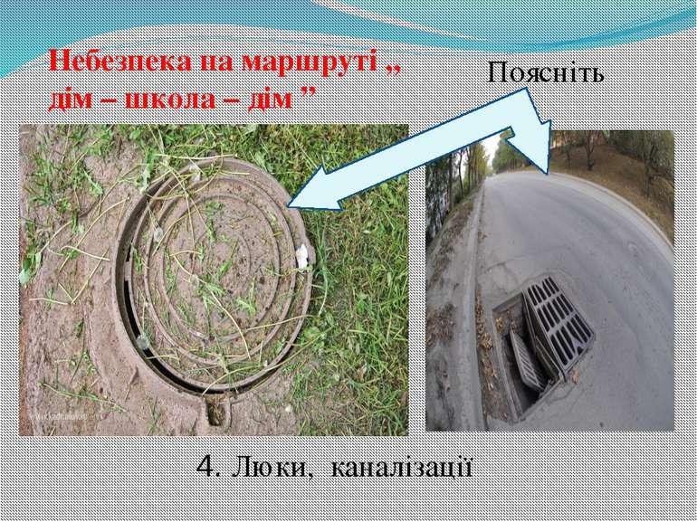 """Небезпека на маршруті ,, дім – школа – дім """" Поясніть 4. Люки, каналізації"""