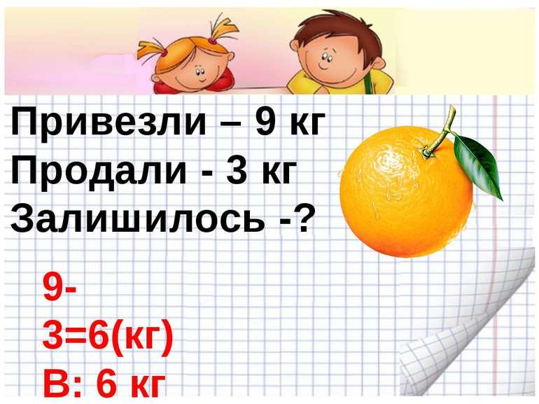 Привезли – 9 кг Продали - 3 кг Залишилось -? 9-3=6(кг) В: 6 кг