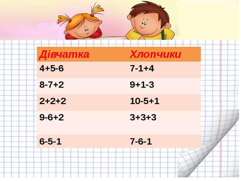 Дівчатка Хлопчики 4+5-6 7-1+4 8-7+2 9+1-3 2+2+2 10-5+1 9-6+2 3+3+3 6-5-1 7-6-1