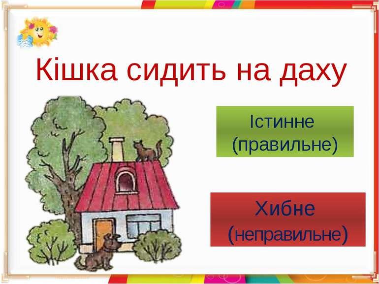 Кішка сидить на даху Істинне (правильне) Хибне (неправильне)