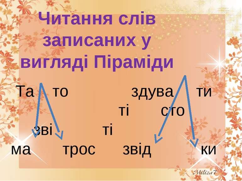 Читання слів записаних у вигляді Піраміди Та то здува ти ті сто зві ті ма тро...