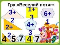 Гра «Веселий потяг» 3+2 1+3 2+2 6+1 4+3 7 4 7 5 4
