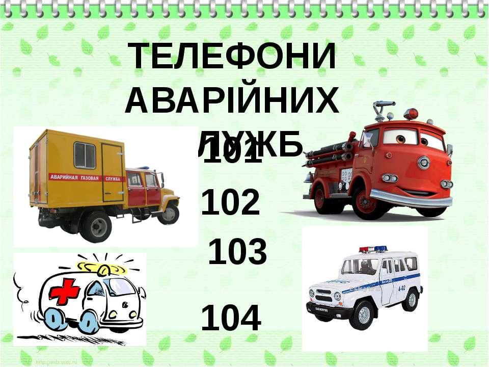ТЕЛЕФОНИ АВАРІЙНИХ СЛУЖБ 101 102 103 104