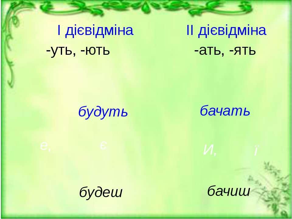 ї -уть, -ють е, будуть будеш I дієвідміна -ать, -ять II дієвідміна И, бачать ...