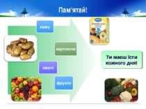 Пам'ятай! кашу картоплю овочі Ти маєш їсти кожного дня! фрукти