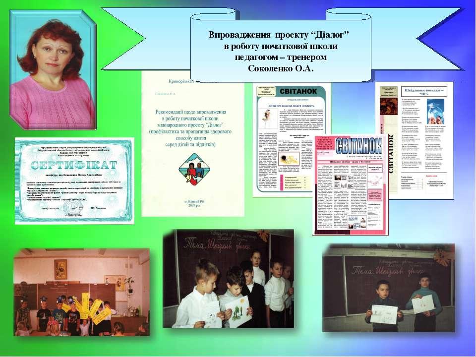 """Впровадження проекту """"Діалог"""" в роботу початкової школи педагогом – тренером ..."""