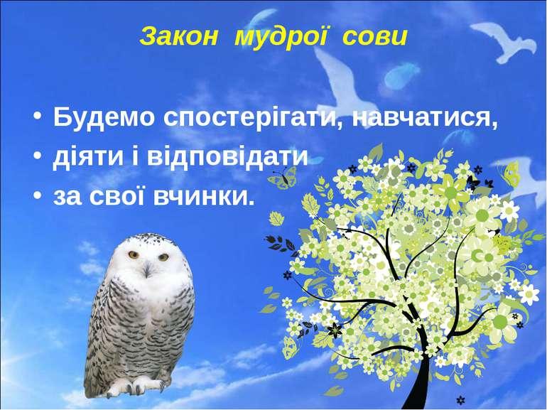 Закон мудрої сови Будемо спостерігати, навчатися, діяти і відповідати за свої...