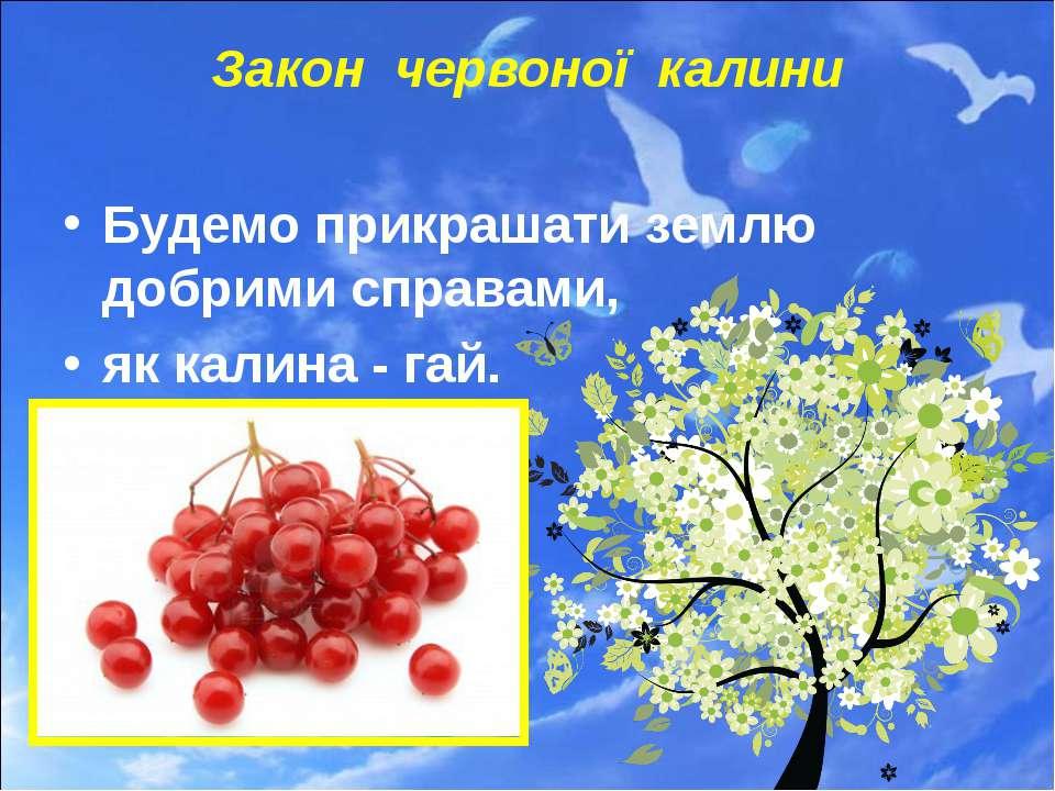 Закон червоної калини Будемо прикрашати землю добрими справами, як калина - гай.